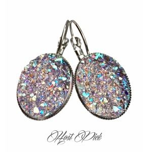 3 for 20⚡️Lavender Iridescent faux druzy earrings